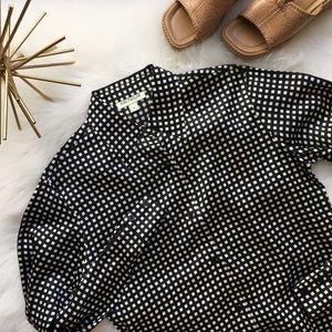 Black & White Check Silk Button Down